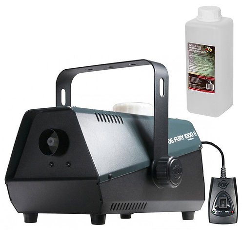 AMERICAN DJ ADJ FOG FURY 1000 II SMOKE FOG MACHINE + REMOTE + 1 LITRE FLUID HIRE