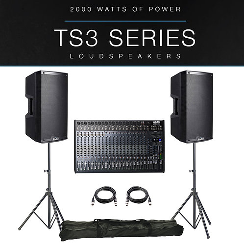 2x ALTO TS312 4000W ACTIVE PA SPEAKER PACKAGE + LEADS + STANDS + LIVE 2404 MIXER