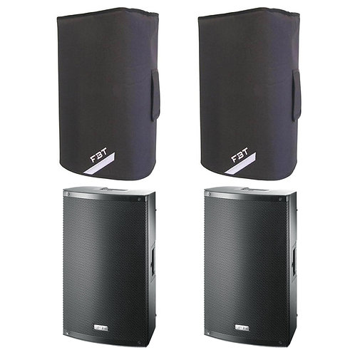 "2x FBT X-LITE 12A PRO 12"" 2000W POWERED PA SPEAKERS OR MONITORS WITH COVERS"