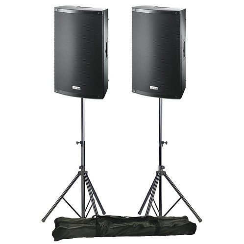"2x FBT X-LITE 10A PRO 10"" 2000W POWERED PA SPEAKERS OR MONITORS WITH STANDS"