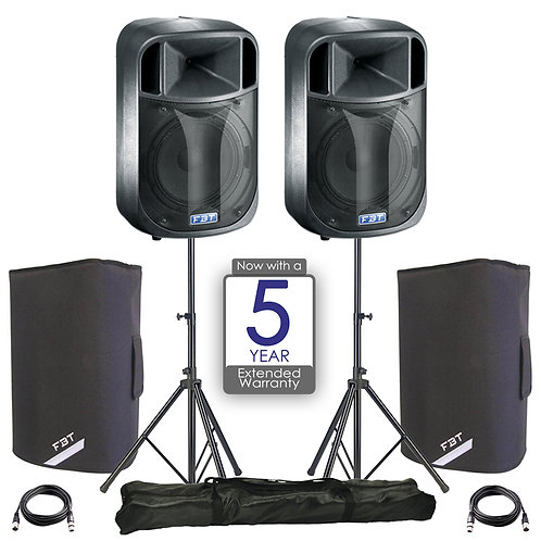 "2x FBT J12A 12"" 900W RMS POWERED PA SPEAKER DISCO BAND + COVERS + STANDS + LEADS"