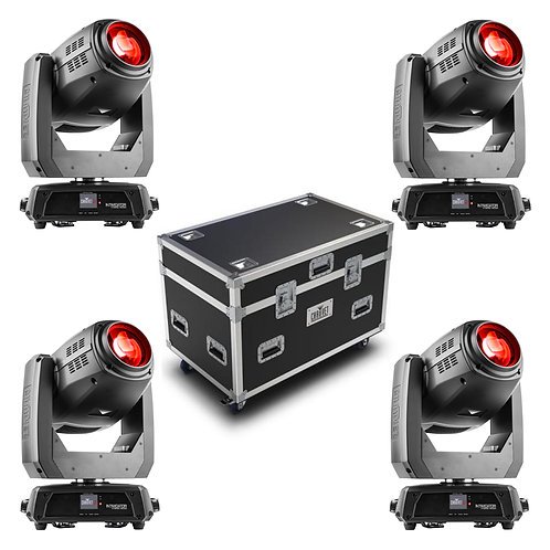 Four Chauvet Intimidator Hybrid 140SR with flight case