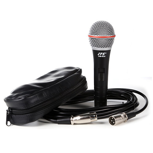 JTS TM-929 HANDHELD WIRED DYNAMIC VOCAL MICROPHONE WITH 6M XLR MIC LEAD + POUCH