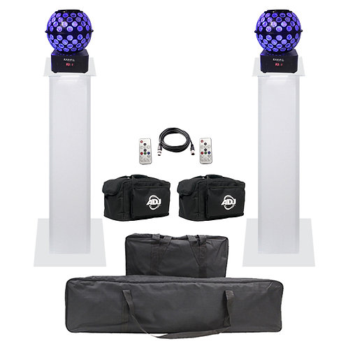 2x IBIZA LIGHT STARBALL-GB + BAGS + DMX LEAD + EQUINOX 1m PLINTH PODIUM KIT