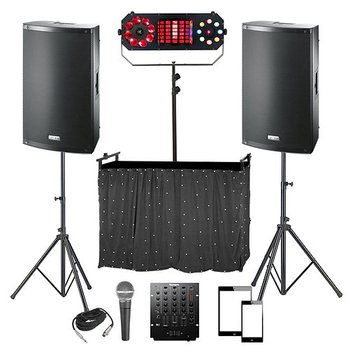 PLUG & PLAY DJ DISCO PACKAGE HIRE 2000W SPEAKERS + MIXER + LIGHTING + MIC + DESK