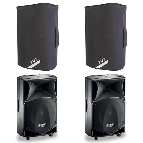 "2x FBT JMAXX 112A PROFESSIONAL 12"" 1800W POWERED PA SPEAKER OR MONITOR + COVERS"