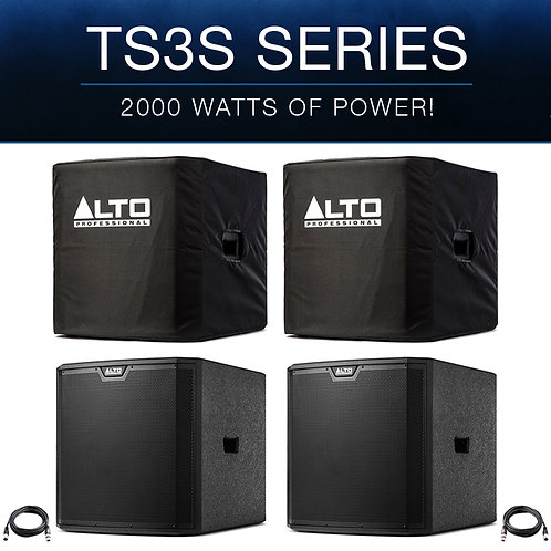 "2x ALTO TS315S 15"" 4000W POWERED ACTIVE PA SUBWOOFER SPEAKER DJ DISCO + COVERS"