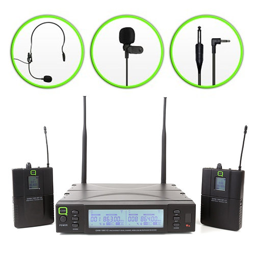 Q-AUDIO QWM1960 V2 BP WIRELESS MICROPHONE MIC SYSTEM HEADSET LAPEL INSTRUMENT