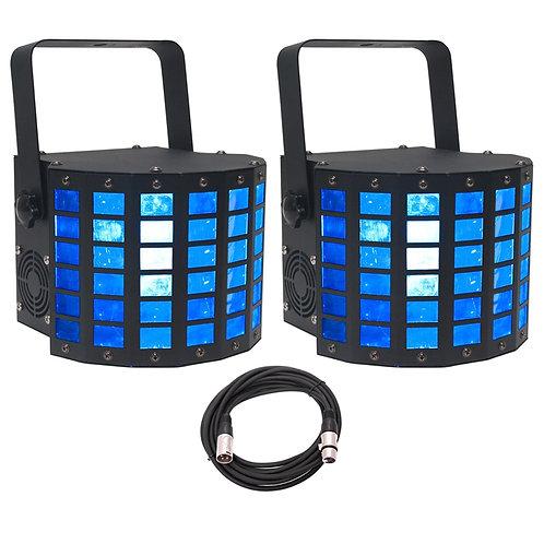 2x AMERICAN DJ ADJ MINI DEKKER RGBW LED DERBY MOONFLOWER LIGHTS + DMX LEAD