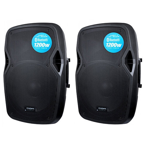 "2x KAM RZ15A V3 BLUETOOTH 2400W 15"" POWERED ACTIVE PA SPEAKER + USB MP3 PLAYER"