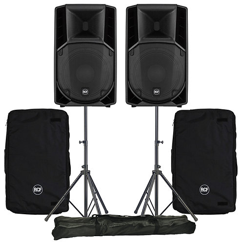 """2x RCF ART 715-A MK4 15"""" 2800W ACTIVE PA SPEAKER DISCO BAND CLUB +COVERS +STANDS"""