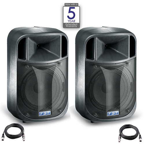 "2x FBT J12A 12"" 900W RMS 128dB ACTIVE POWERED PA SPEAKER DJ DISCO BAND + LEAD"
