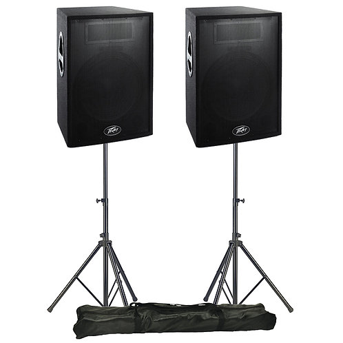 "2x PEAVEY PRO15 MK2 15"" 4-OHM 600W RMS PASSIVE PA SPEAKERS + STANDS HIRE"
