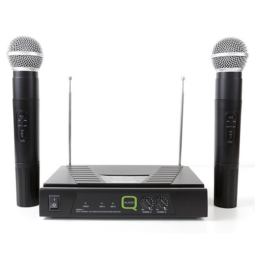 Q-AUDIO QWM11 QUALITY DUAL VHF WIRELESS HANDHELD MICROPHONE SYSTEM 173.8 175.0
