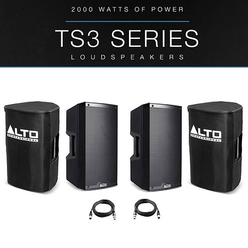 "2x ALTO TS310 10"" 4000W POWERED ACTIVE PA SPEAKER MONITOR DJ BAND +COVERS +LEADS"