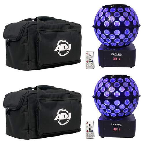 2x IBIZA LIGHT STARBALL-GB ROTATING GOBO + BEAM LED MIRRORBALL DJ DISCO + BAGS
