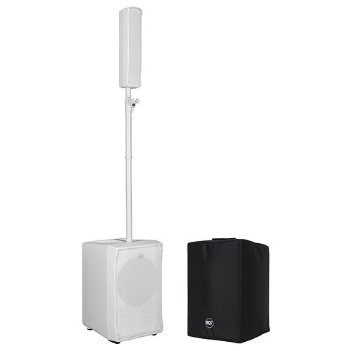 RCF EVOX J8 WHITE 1400W POWERED COLUMN ARRAY SPEAKER SUBWOOFER PA SYSTEM + COVER