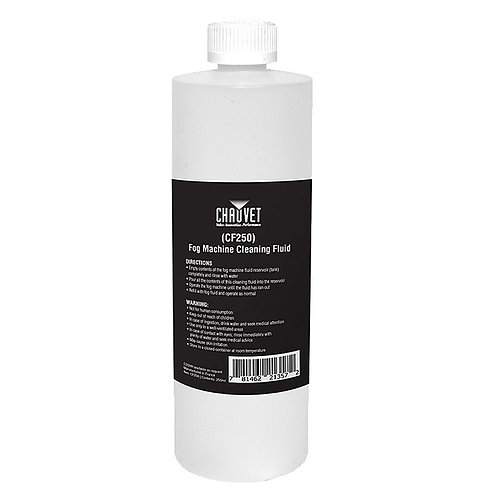 Chauvet CF-250 is a 250ml bottle of cleaning fluid for water based smoke or fog machines