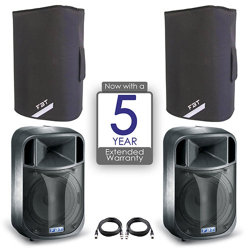 "2x FBT J12A 12"" 900W RMS 128dB POWERED PA SPEAKER DJ DISCO BAND + COVER + LEAD"