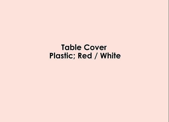 Table Cover - Plastic; Red / White
