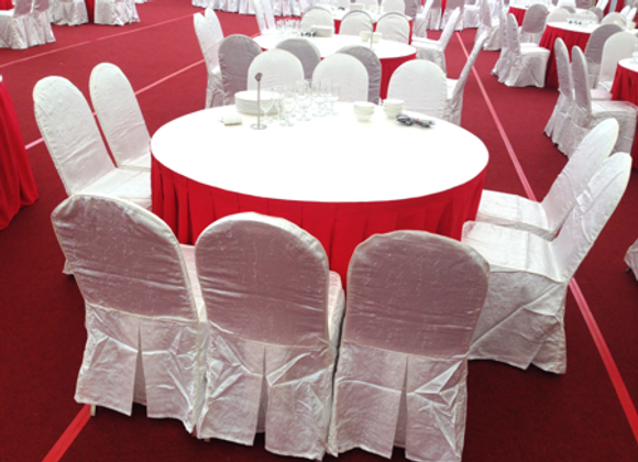 """Table Cover - Cloth; 92"""" Round 1.8m Table; Red / White"""