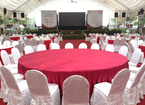 Table - Round Vip 3m; Skirting; Table Cloth; 20 Pax