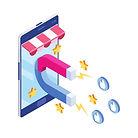 giant magnet attracting social media logos