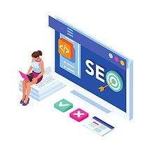 woman with computer doing SEO