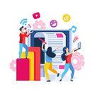 team working on digital marketing