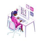 woman typing on desktop computer