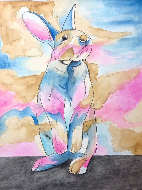 Pink and Blue Bunny (Original)