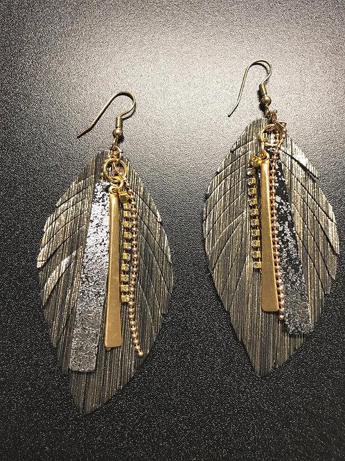 Metallic Feather and Metal Earrings