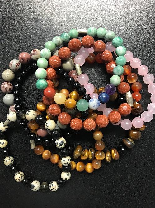 Gemstone Stretch Bracelet/.925 closure