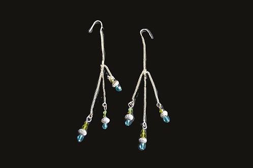 Blue Chandelier Glass Bead Earrings