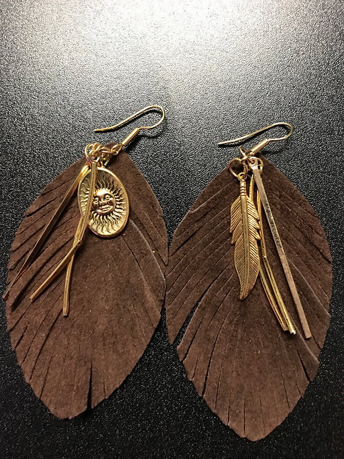 Leather and Metal Feather Earrings