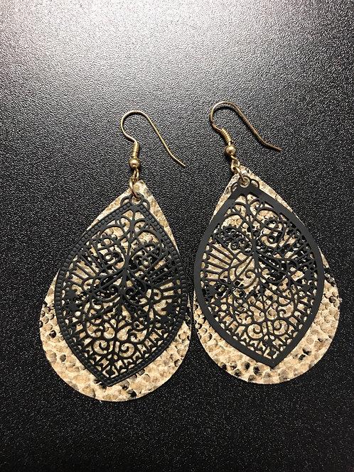 Leather & Metal Teardrop Earrings