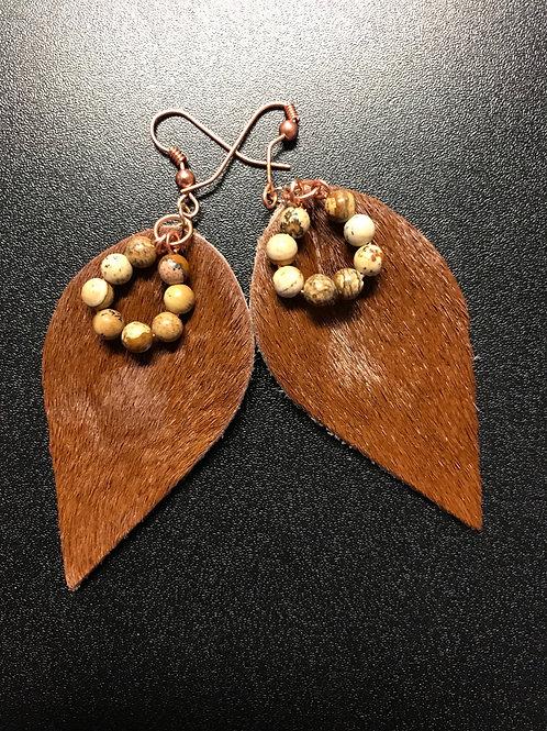 Leather n Picture Jasper Earrings