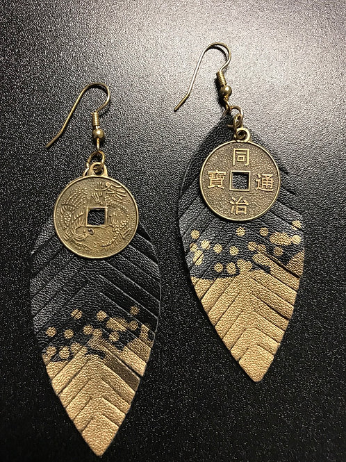 Black and Gold Feather and Metal Earrings