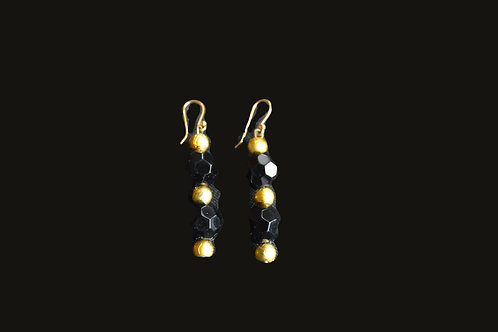 Black and Gold Faceted Glass Bead Earrings