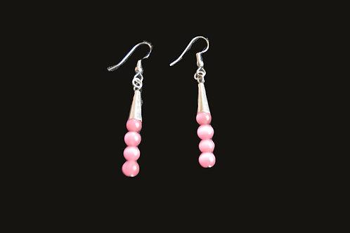 Pink Snowball Glass Bead Earrings