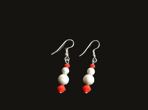 Red Swarovski® crystals and White Glass Bead Earrings