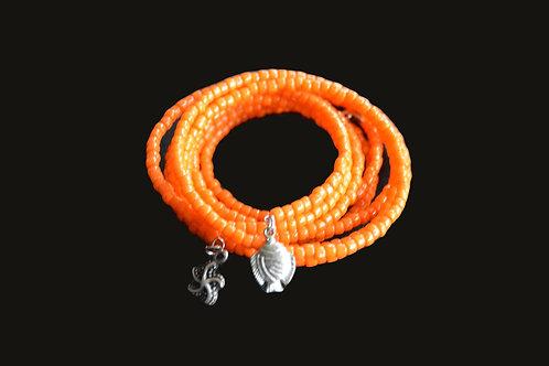 Orange Glass Bead Wrap Bracelet