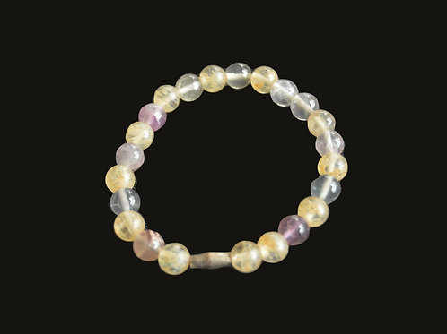 Fluorite and Cloudy Quartz Bracelet