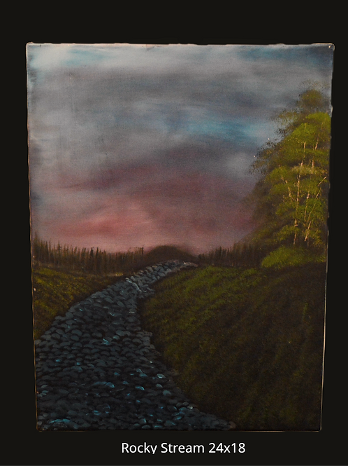 Rocky Stream Oil Painting