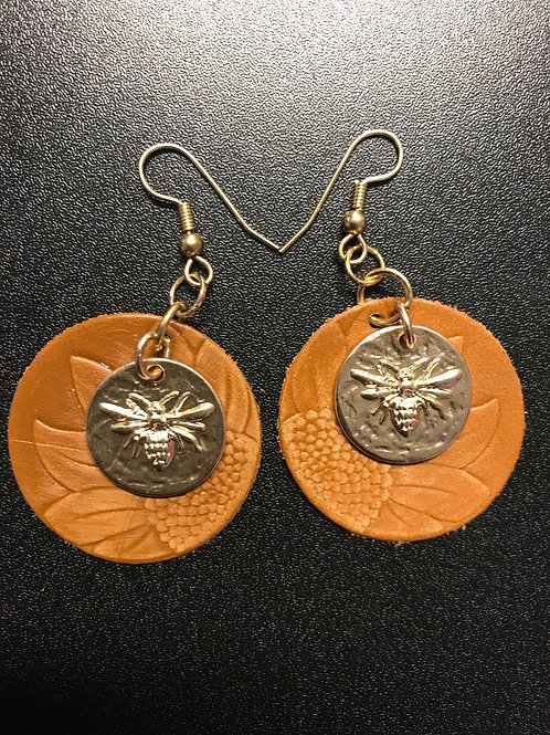 Sunflower and Bees Leather Earrings