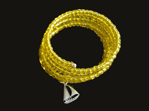 Yellow Glass Bead Wrap Bracelet