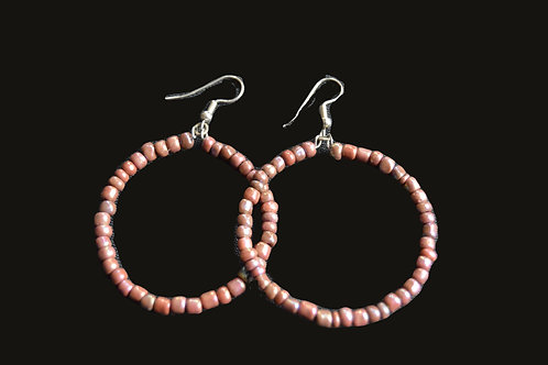 Pink Glass Bead Hoop Earrings
