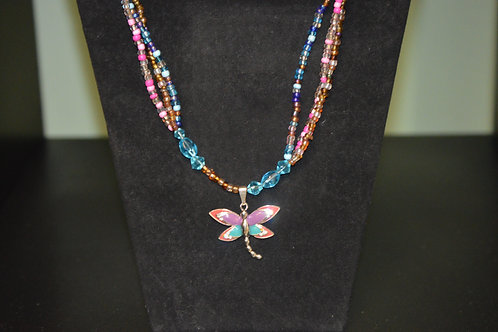 Multi-colored Dragonfly Glass Bead Necklace