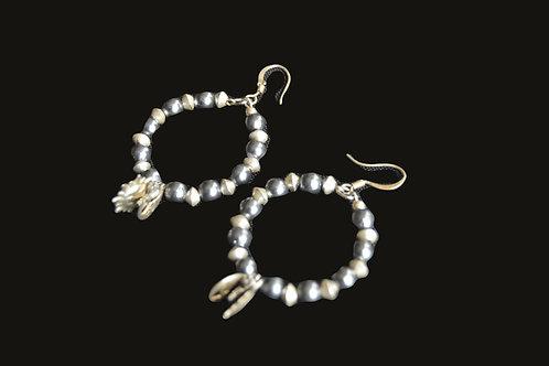 Silver Bead Hoop Earrings