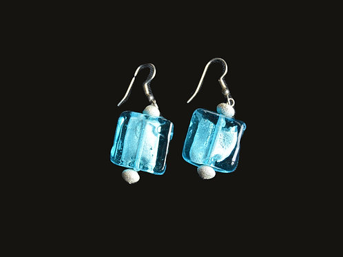 Blue Block Glass Bead Earrings